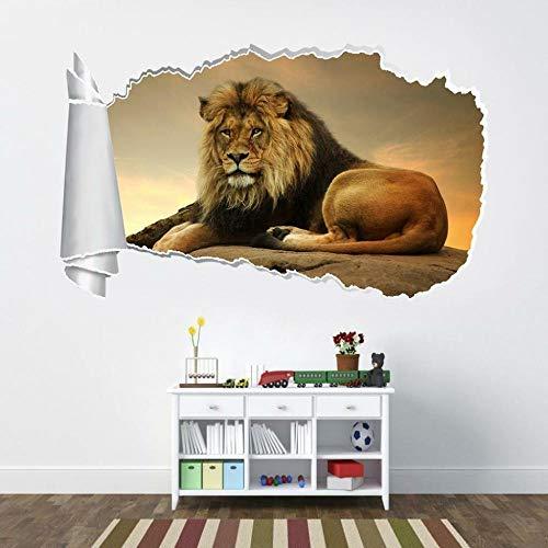 QAW Wall Sticker Lion Safari Animals 3D Torn Hole Ripped Wall Sticker Decal Art Mural
