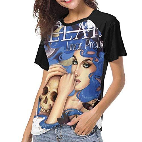 JEWold Delain Lunar Prelude Ep Women's Baseball Short Sleeves Black Raglan T-Shirts Tee T Shirts for Women Frauen Kurzarm T-Shirts