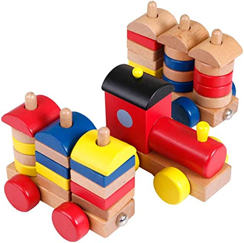 LINGLING-SPIELZEUGE Kinderspielzeug Mehrfarbenzug-Bausteine, die Geschenke 2 Jahre alt und Oben puzzeln (Farbe   Bunte)
