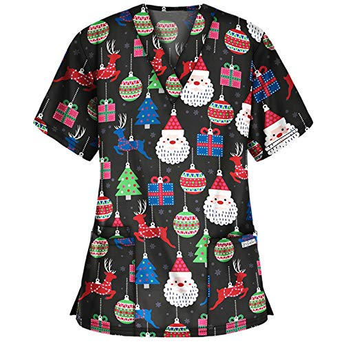 Women's_Scrub_Top Cute Animal Christmas Floral Plant Printing V-Neck Workwear Uniform Holiday Tops Blouse (Christmas-07, S)