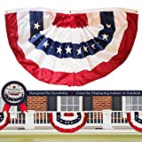 G128 - USA Pleated Fan Flag, 4x8 Feet American USA Bunting Decoration Flags Embroidered Patriotic Stars & Sewn Stripes Canvas Header Brass Grommets