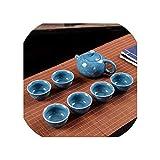 Juego de té de lujo, de Kung Fu chino, juego de té de 7 piezas para mujeres y hombres, juego de tetera de cerámica blanca para el hogar familiar de porcelana, 12 estilos, azul oscuro