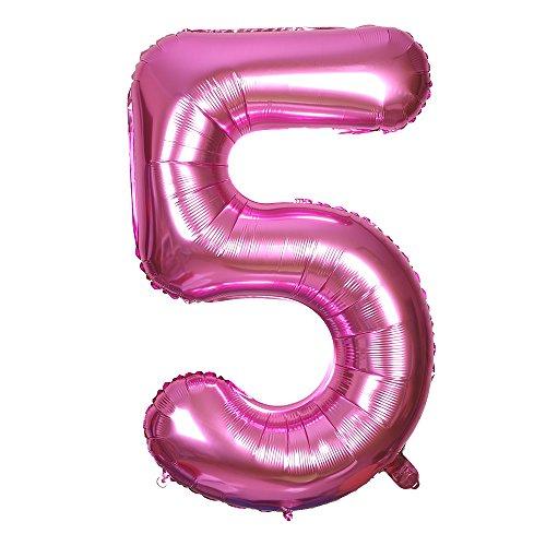 Smarcy Palloncino Gonfiabile Numero 5 Palloncini Compleanno 5 Anni Decorazioni Compleanno Bimbo Rosa