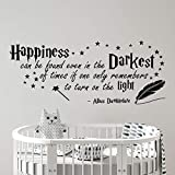 Happiness can be Found Even in The Darkest of Times Quote Wall Sticker Transfer Nursery Decal Bedroom Home Vinyl v033 (Black)