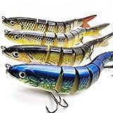 motoeye Saltwater Fishing Lures Set for Bass & Trout, 5' 4 pcs Lifelike Multi Jointed 3D Swimbaits...