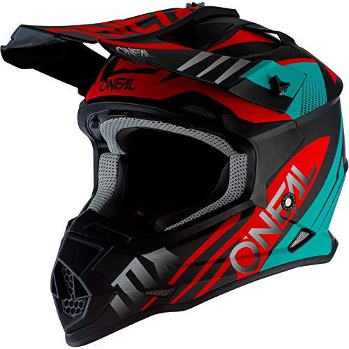 O'NEAL | Casco Motocross | MX | Calotta in ABS, Standard di sicurezza ECE 22.05, Prese d'aria per una ventilazione ottimali | Casco 2SRS Spyde 2.0 | Adulto | Nero Turchese Rosso | Taglia S
