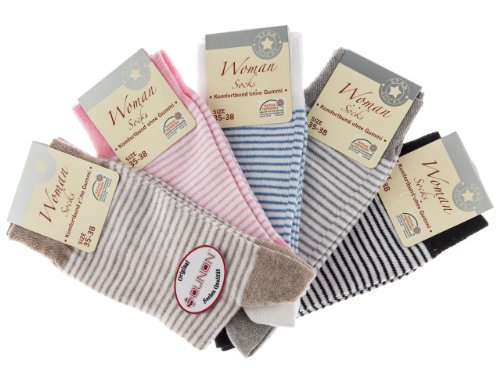 10 Paar Damen Socken ohne Gummi von SOUNON® (4583), Groesse: 35-38