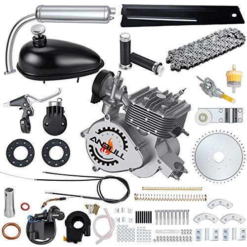 "Anbull Full Set 100CC Bicycle Engine Kit, 2 Stroke Motorized Bike Kit, Super Fuel-efficient Bike Engine kit with 2L Oil Tank for 26"" 28"" Bike (Silver)"
