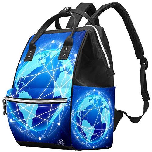 Multifunktions-Wickeltasche, Rucksack, Netz-Globus-Konzept, Wickeltasche, Reiserucksack für Mama und Papa