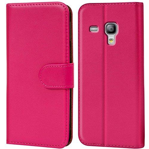 Conie Handyhülle für Samsung Galaxy S3 Mini Hülle, Premium PU Leder Flip Case Booklet Cover Weiches Innenfutter für Galaxy S3 Mini Tasche, Pink