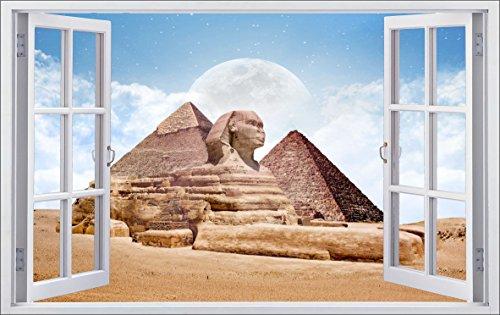 DesFoli Ägypten Sphinx 3D Look Wandtattoo 70 x 115 cm Wanddurchbruch Wandbild Sticker Aufkleber F538