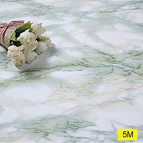Lanceasy - Papel pintado autoadhesivo de mármol para cocina o encimera, grueso, impermeable, 60 cm, verde, 5,0 m