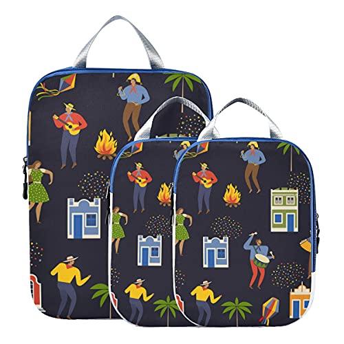 Accessori da viaggio Colorful Fashion Art Cubi da viaggio a compressione da città americana Cubi da viaggio espandibili Set di cubi da viaggio per bagaglio a mano, viaggio (set di 3)
