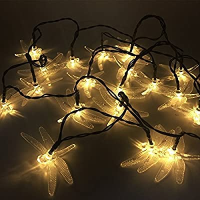 TEQIN 20LED Dragonfly Solar String Lights Christmas Xmas New Year Party Fairy Wedding Decor Outdoor/Indoor Decoration Lamp(White)