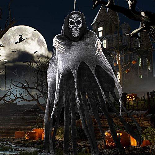 OurWarm 5.5ft hängender Sensenmann, großer Halloween-Skelett-hängender Geist mit dem Schaum-Schädel für beängstigenden Halloween-hängenden Dekorations-Stützen-Versorgungsmaterialien