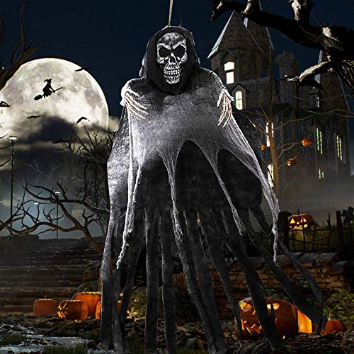 OurWarm 5.5ft Hanging Grim Reaper, Grande Scheletro di Halloween Appeso Fantasma con Schiuma Cranio per Spaventoso Halloween Appeso Decorazione Prop Forniture