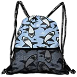 Lmtt Sac à Cordon pour Hommes/Femmes-Shark Print Fashion Lightweight Sackpack Casual Bundle Backpack for Sports, Travel, Gym, Training, Yoga