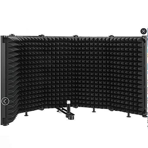 Schermo microfono pieghevole Pannello di registrazione vocale fonoassorbente Isolamento acustico portatile Schermo microfono per studio di registrazione audio, canto e trasmissione