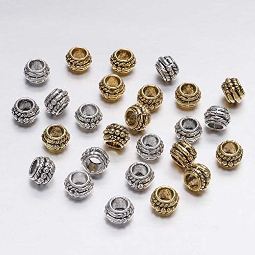 30Pcs/Lot 8Mm Gold Antique Plated Loose Spacer Bead for Jewelry Making Vintage Bracelet Beads Findings Handmade Supplies