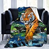 Moonlight Tiger Super Soft Throw Blanket Lightweight Fluffy Flannel Fleece Blanket for Couch Bed Sofa Travelling Camping for Kids Adults 50x60 Inch