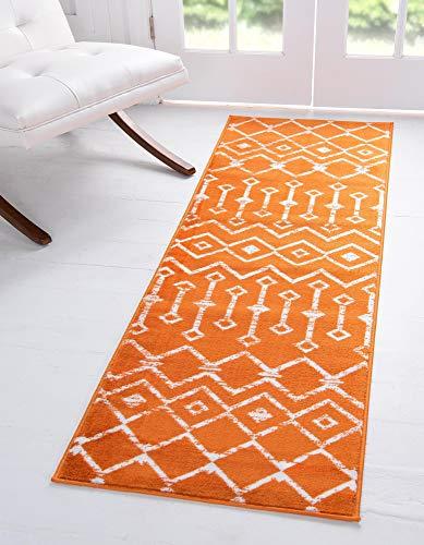 Unique Loom Moroccan Trellis Collection Modern Geometric Transitional Orange Runner Rug (2' 6 x 8' 2)