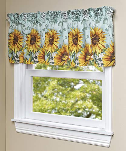The Lakeside Collection Sunflower Window Valance - Farmhouse Kitchen, Bathroom Curtain with Floral Print