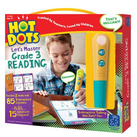 Educational Insights Hot Dots Let's Master 3rd Grade Reading Set, Homeschool & School Readiness Learning Workbooks, 2 Books & Interactive Pen, 100 Math Lessons, Ages 8+