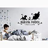 autocollant mural sticker mural Personnage De Bande Dessinée Personnage Hakuna Matata Roi Lion Pour Enfants Chambres Citation Stickers Chambre Décor Mural
