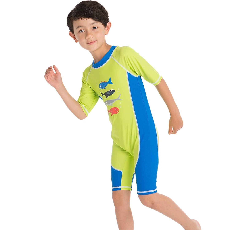 子供水着 ボーイズ 水着 練習 半袖 ワンピース 帽子 キャップ付き 1点セット/2点セット キッズ 速乾性 UVブロック 日焼け防止 防水 プリント かわいい 魚 男の子 ラッシュガード ビーチ プール 2-10歳