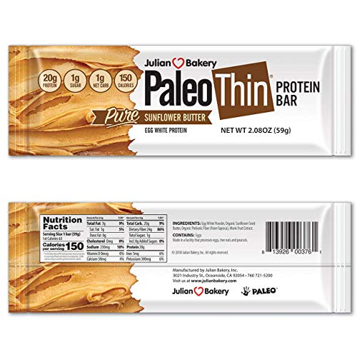 Paleo Thin : 20g Protein Bar (Egg White) (Sunflower Butter) (150 Calories) (1 Net Carb) (12 Bars)