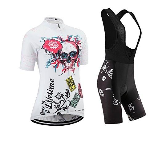 JNL (Cojín 3D)(Traje tamaño:M) Transpirable Jerseys los Corta Ropa Rendimiento sudo Manga Chaleco para Mujer Moda de Rompevientos Ciclismo Maillot