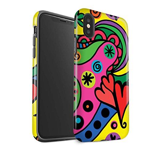 Gloss telefoonhoesje voor Apple iPhone XS moderne levendige pop art partij ontwerp glanzend taaie schokbestendig bumper cover