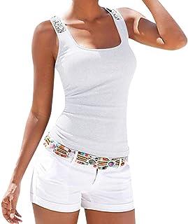 Yebiral Women's Tank Top Glitter Sequin Vest Summer Sexy Elegant Women's Sports Top Sleeveless T-Shirt Sexy Tank Tops Tank Tops Underwear Large Size