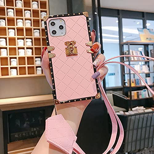 Compatible for iPhone SE 2020 /iPhone 7 /iPhone 8 Case, BabeMall Elegant Diamond Premium Full-Body Rugged Shockproof Square PU Leather Classic TPU Bumper Case + Lanyard (Small Cube/Pink,)