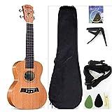Ukulele da concerto con parte superiore in mogano, 58,4 cm, con accessori per ukulele con custodia, tracolla, corda in nylon, capotasto per chitarra, plettri