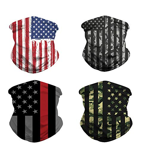 4pcs Neck Gaiter/US Flag Gaiters/Face Cover for Outdoors, Festivals, Sports Unisex