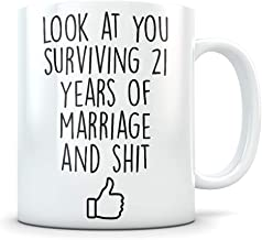 21st Anniversary Gift for Him or Her - Funny 21 Year Wedding Anniversary for Men and Women - Marriage Coffee Mug Set I Love You for Parents or Friends