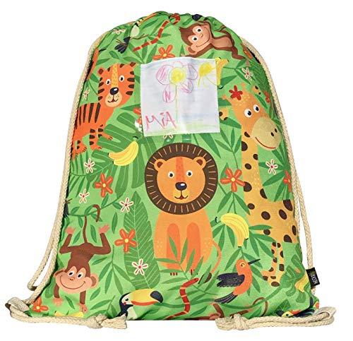 Mochila HECKBO® para niñas y niños con Dibujos de la Jungla, Incluye una Solapa para Meter Fotos y Dibujos - Selva - se Puede Lavar a máquina - 40 x 32 cm - Apta para el jardín de Infancia