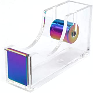 """Rainbow Adhesive Tape Dispenser Clear Acrylic Body Desktop Tape Holder 1"""" Colorful Metal Core for Your Desk and Office Sup..."""