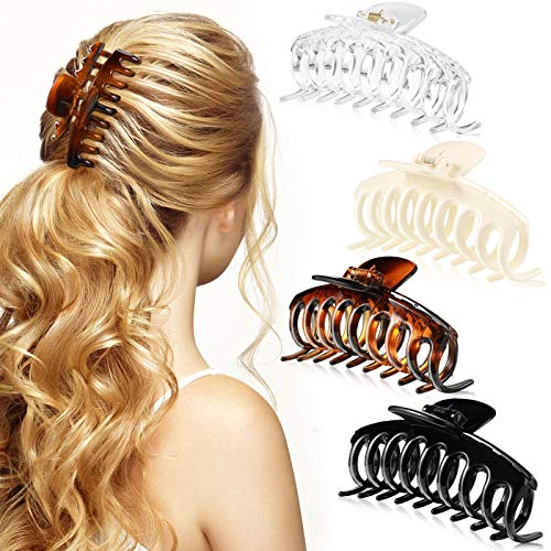 4 Stück Groß Haar Klaue Clips 4,4 Zoll Groß Haar Kiefer Clips Stark Halt Haarzubehör für Frauen und Mädchen Dickes Langes Haar (Schwarz, Braun, Beige, Klar)