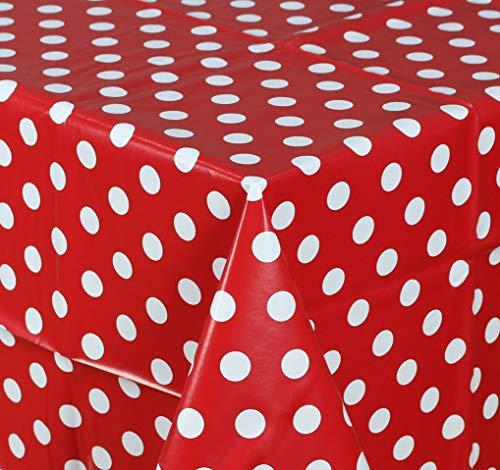 Wachstuch Tischdecke Abwaschbar Eckig 140 x 200 cm Punkte Rot