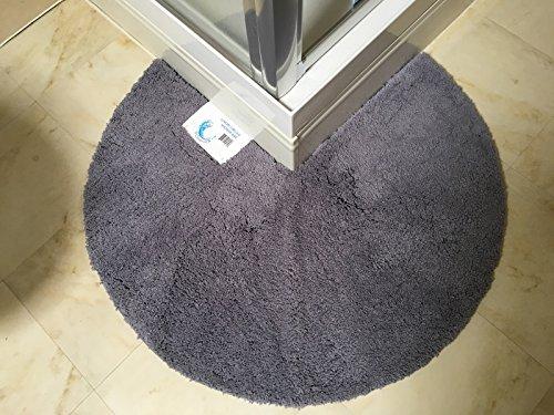 Cazsplash Duschmatte mit runden Ecken, rutschfest, Mikrofaser, grau, 90 cm