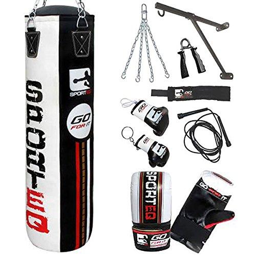 Saco de boxeo de Sporteq Boxing de 1,5 m, guantes de entrenamiento, soporte de pared y cadenas (blanco / negro)