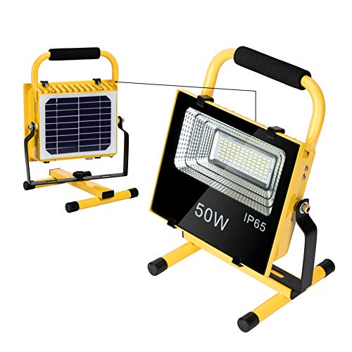 LED Work Light with Stand 50W, Built in Solar Panel, Portable and Rechargeable By Solar Light Outdoor, Wireless in Use, High Waterproof Level, Flood Light, Job Site Lighting