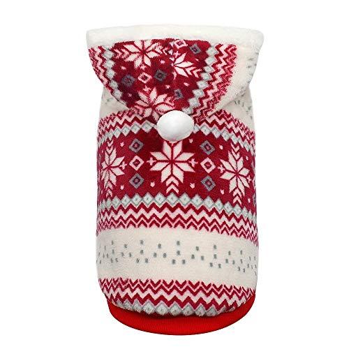 Liyc Jas voor huisdieren, trui voor honden, warm en comfortabel, kerststijl, rood, winterjas, voor meisjes en jongens, van klein tot groot, maat: S (kleur: rood)