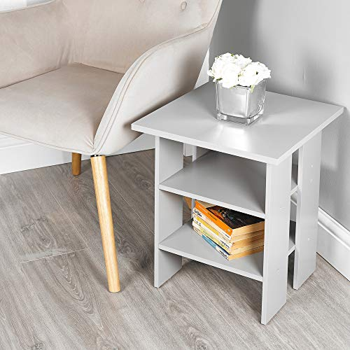 URBNLIVING 2 Tier Wooden Modern Side End Table (Grey)