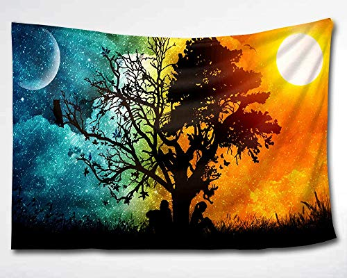 HMWR Magical Love Tree of Life Tapestry Wall Hanging Psychedelic Forest in Star Moon Night and Sun Day Art Tapestries Throw Cottage Dorm Bedroom Art Home Decor 60x40 Inch