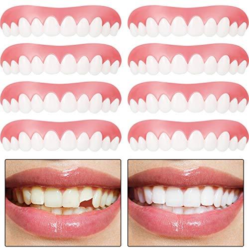 Carillas Instantáneas Dentaduras que Cubren Dientes Perdidos Dientes Dentales Dientes Temporales Kit de Relleno Cómodas Carillas Superiores Dientes Cosméticos para Hombres y Mujeres (8)