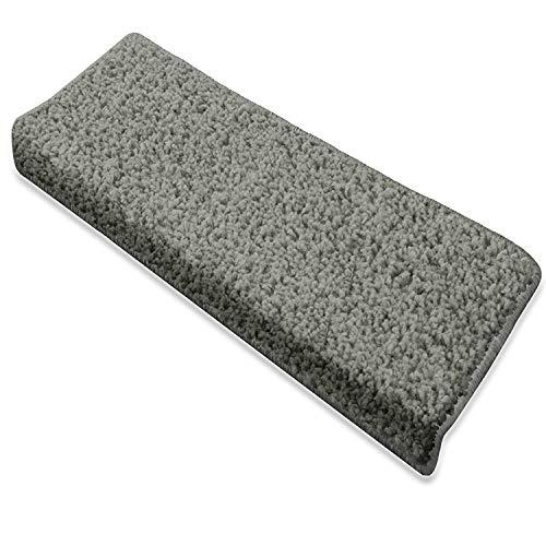 casa pura Rectangular Shaggy Carpet - 15x Stair Tread Mats | Grey | Barcelona | Incredibly Robust for High Traffic | 23.5x65cm | Matching Rug Available