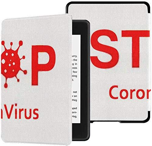 Cubierta de Tela Kindle Paperwhite Resistente al Agua (10a generación, versión 2018), señal Precaución Coronavirus Stop Outbreak Peligro Funda para Tableta